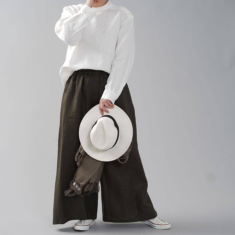 中厚地 リネン 肩ボタン ブラウス シャツ スタンドカラー カフス袖 シェルボタン 長袖 ふんわり袖 タック袖 トップス/ホワイト【M-L】t019b-wht2