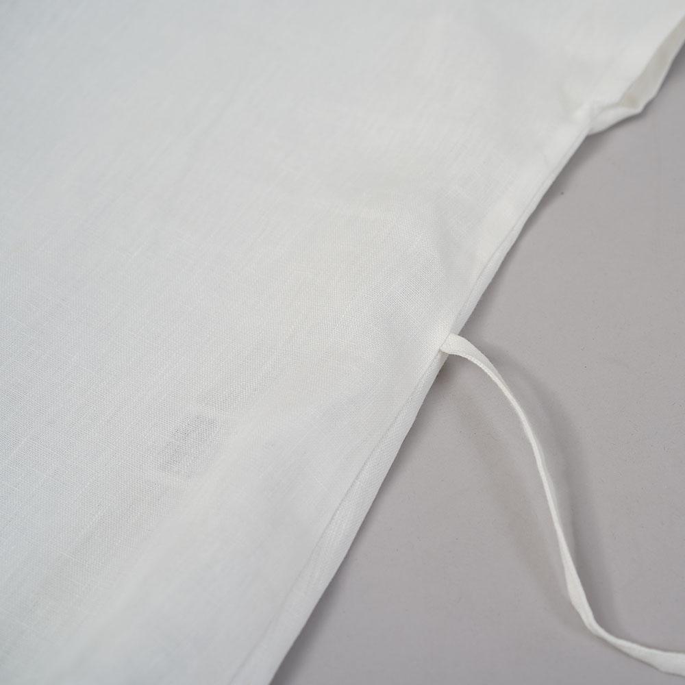 中厚 リネンブラウス Vネック Tシャツ フレンチスリーブ チュニック 紐付 / ホワイト