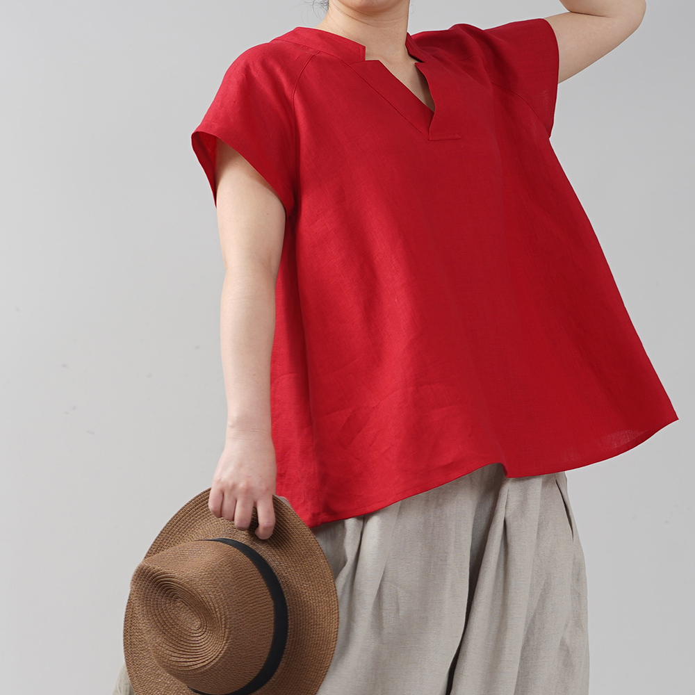 やや薄地 リネン ブラウス トップス 禅 着物襟 和装 ラグランスリーブ リネン100% オフィサー チュニック/赤紅(あかべに)【free】t028e-akb1