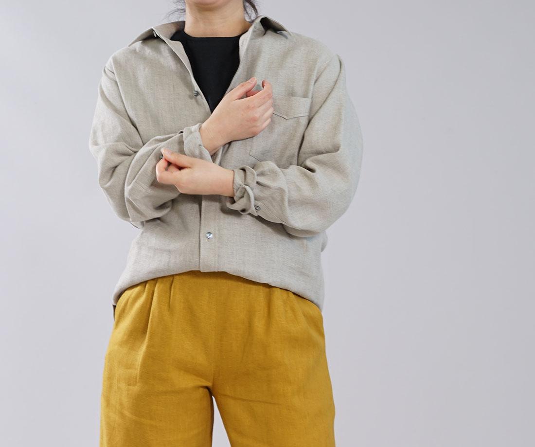 ボタン打ち合わせがメンズ仕様 本格 premium 中厚 リネンシャツ カッタウェイ シンプルシャツ 長袖 シャツ 前開きシャツ 胸ポケット / 亜麻ナチュラル【M/L】t032g-amn2