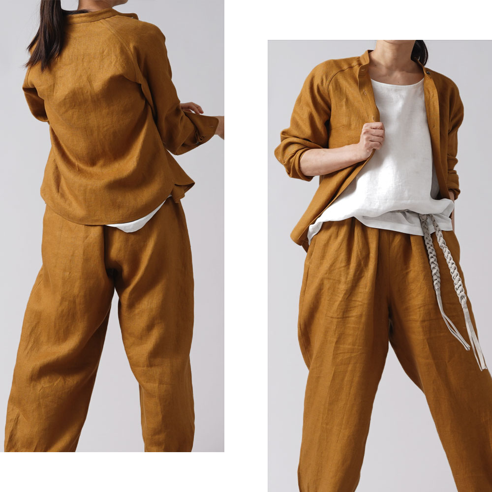 【wafu premium linen 】丈短め スタンドカラーシャツ wafu史上最高の上質リネン 高密度リネン ラグランスリーブ プレミアム リネン /デリーブラス【M-L】t034b-drs2