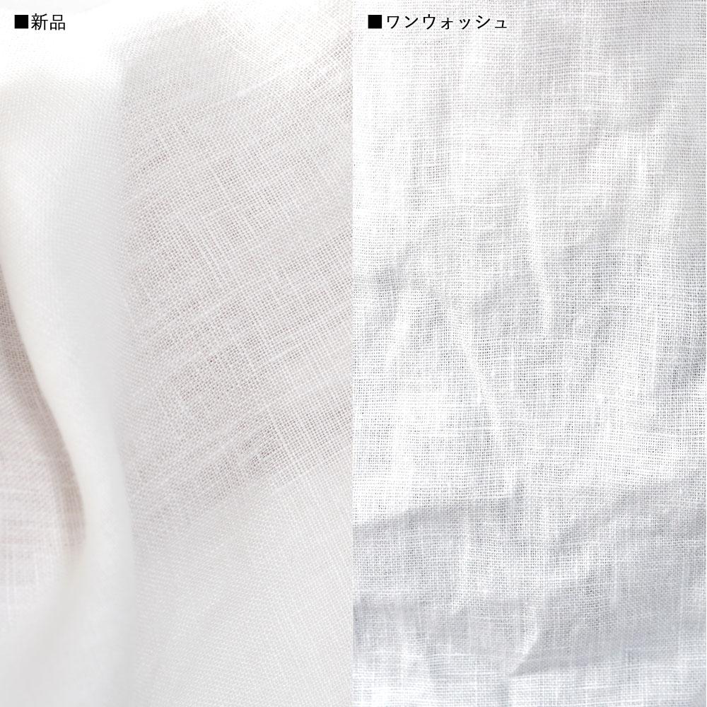 ※上半身貧相党、いさわサイズ 中厚リネン100%スタンドカラーシャツ 長袖 オールシーズン対応/ホワイト【S-M】t034c-wht2