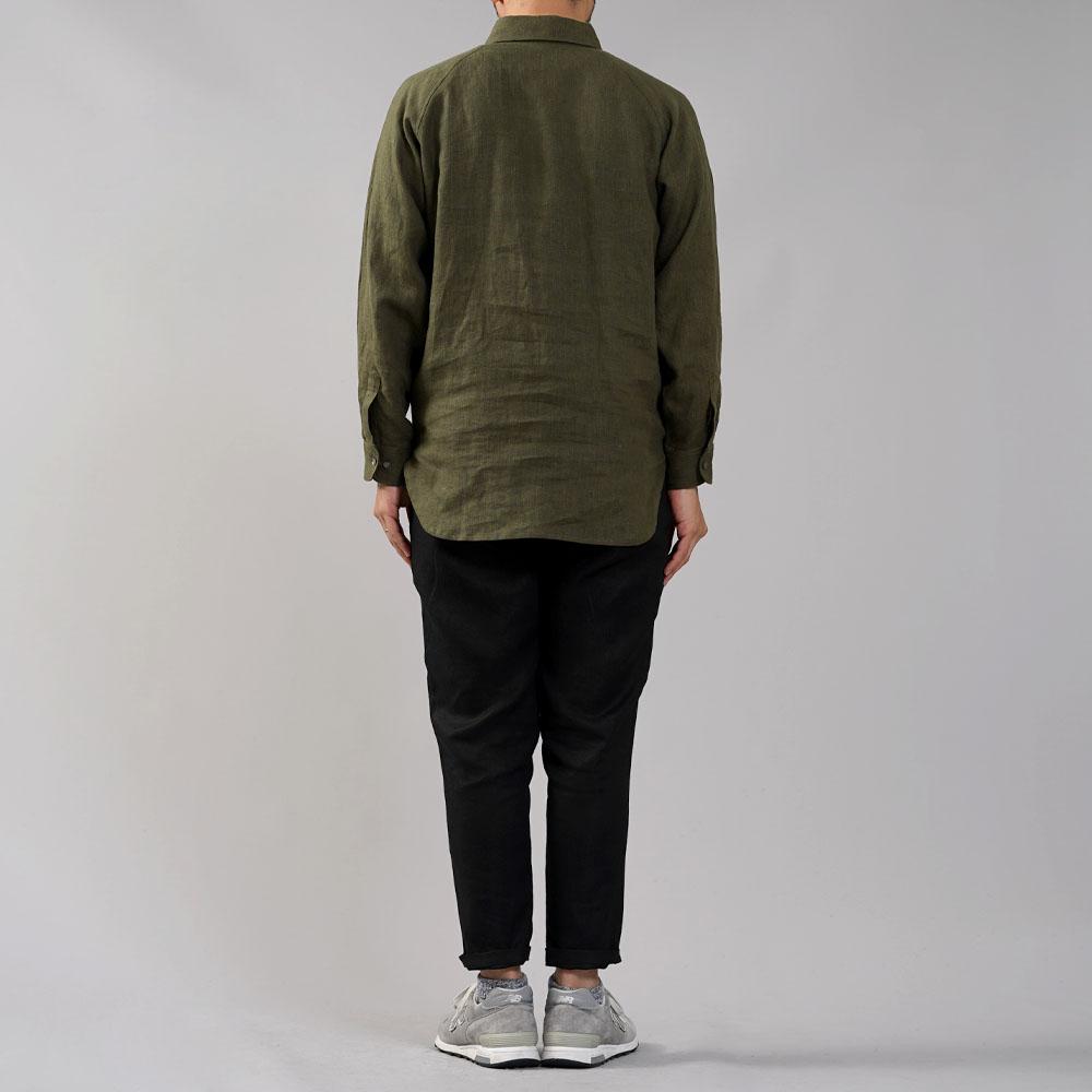中厚 リネン プルオーバーシャツ ラグランスリーブシャツ 両脇ポケット仕様 男女兼用/カーキ【M-L】t035f-khk2-m
