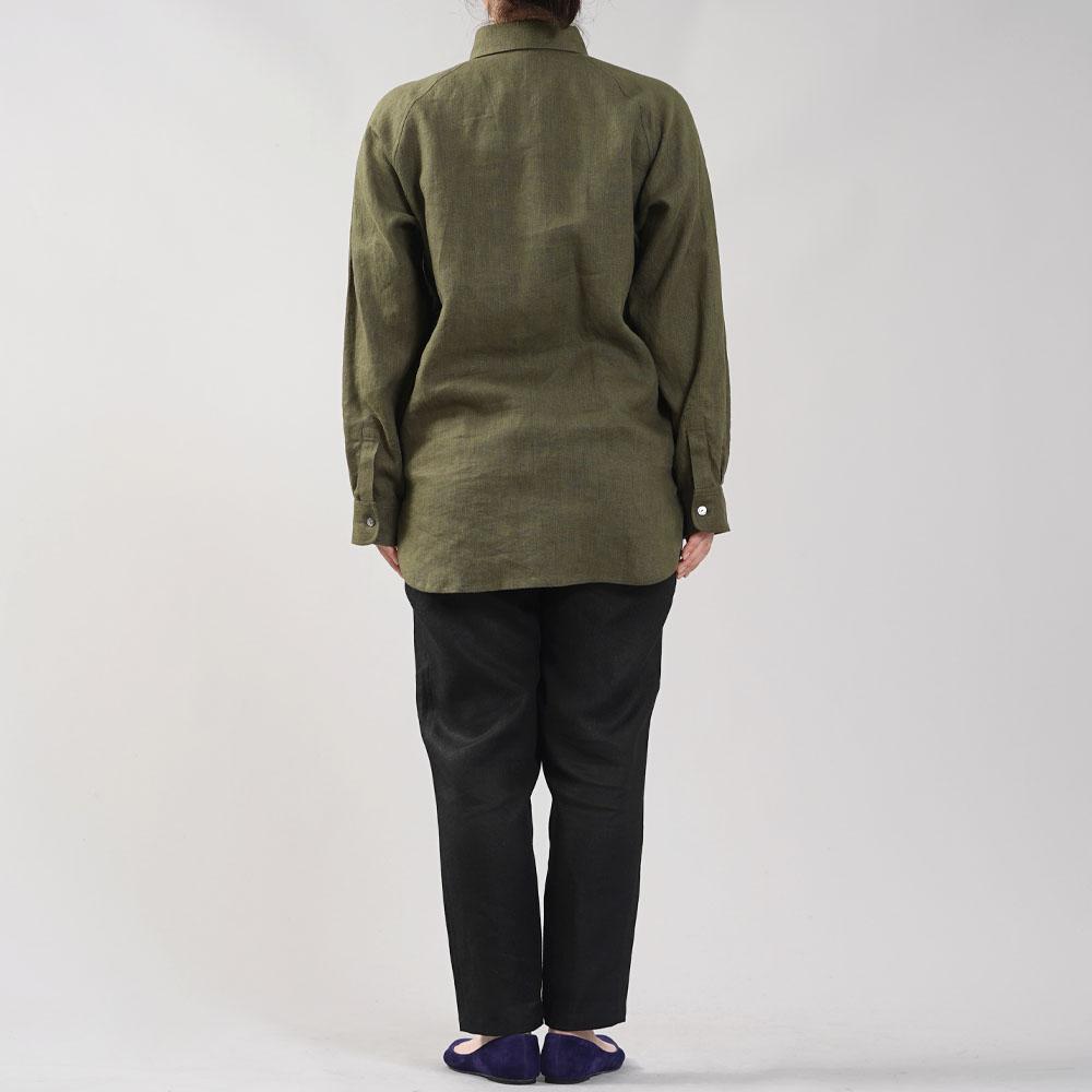 中厚 リネン プルオーバーシャツ ラグランスリーブシャツ 両脇ポケット仕様 男女兼用/カーキ【M-L】t035f-khk2-w
