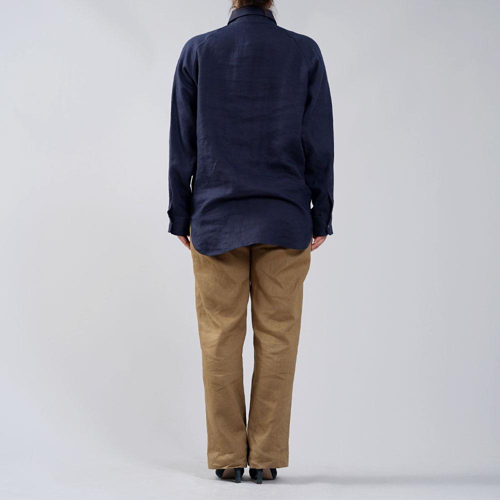 中厚 リネン プルオーバーシャツ ラグランスリーブシャツ 両脇ポケット仕様 男女兼用/ネイビー【M-L】t035f-neb2-w