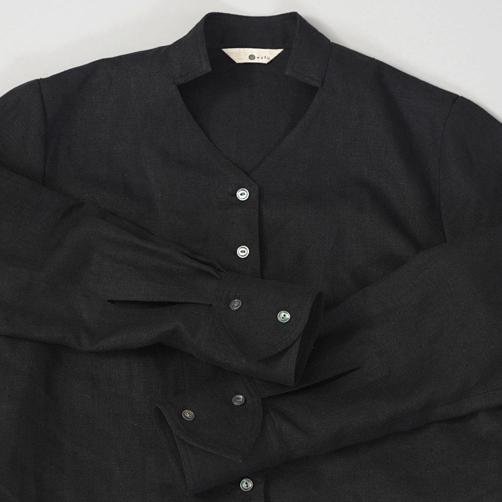 【wafu】中厚リネンシネマでみたワンシーンのブラウス リネンブラウス リネンシャツ 羽織 セットアップにも /ブラック【M】t044a-bck2