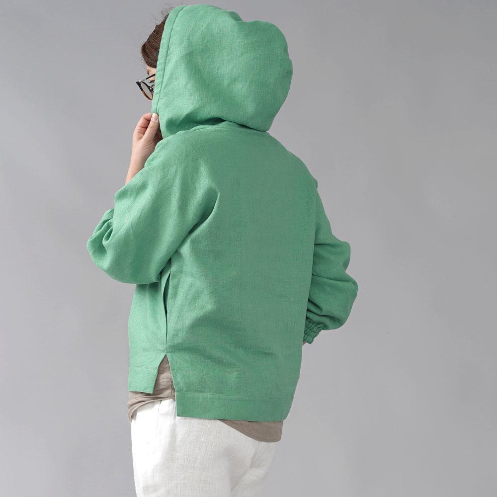 【wafu 入門編】数量限定! 中厚 リネン100% リネンパーカー 袖口改良品 ゴム仕様 ステップドヘム /オパールグリーン【free】t047d-opg2