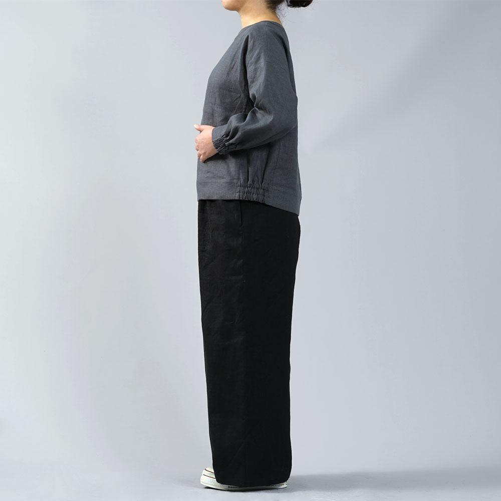 【wafu】中厚 リネン スウェット風トップス リネントレーナー/ディムグレー【free】t048a-dmg2