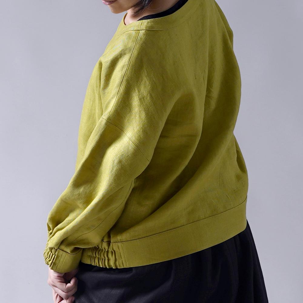 【wafu プレミアムリネン】リネン スウェット風トップス リネントレーナー wafu史上最高の上質リネン/シャトルーズグリーン【free】t048a-sgn2