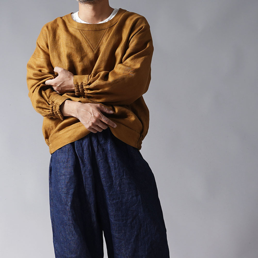 【wafu プレミアムリネン】リネン スウェット風トップス リネントレーナー wafu史上最高の上質リネン/デリーブラス【free】t048c-drs2-m