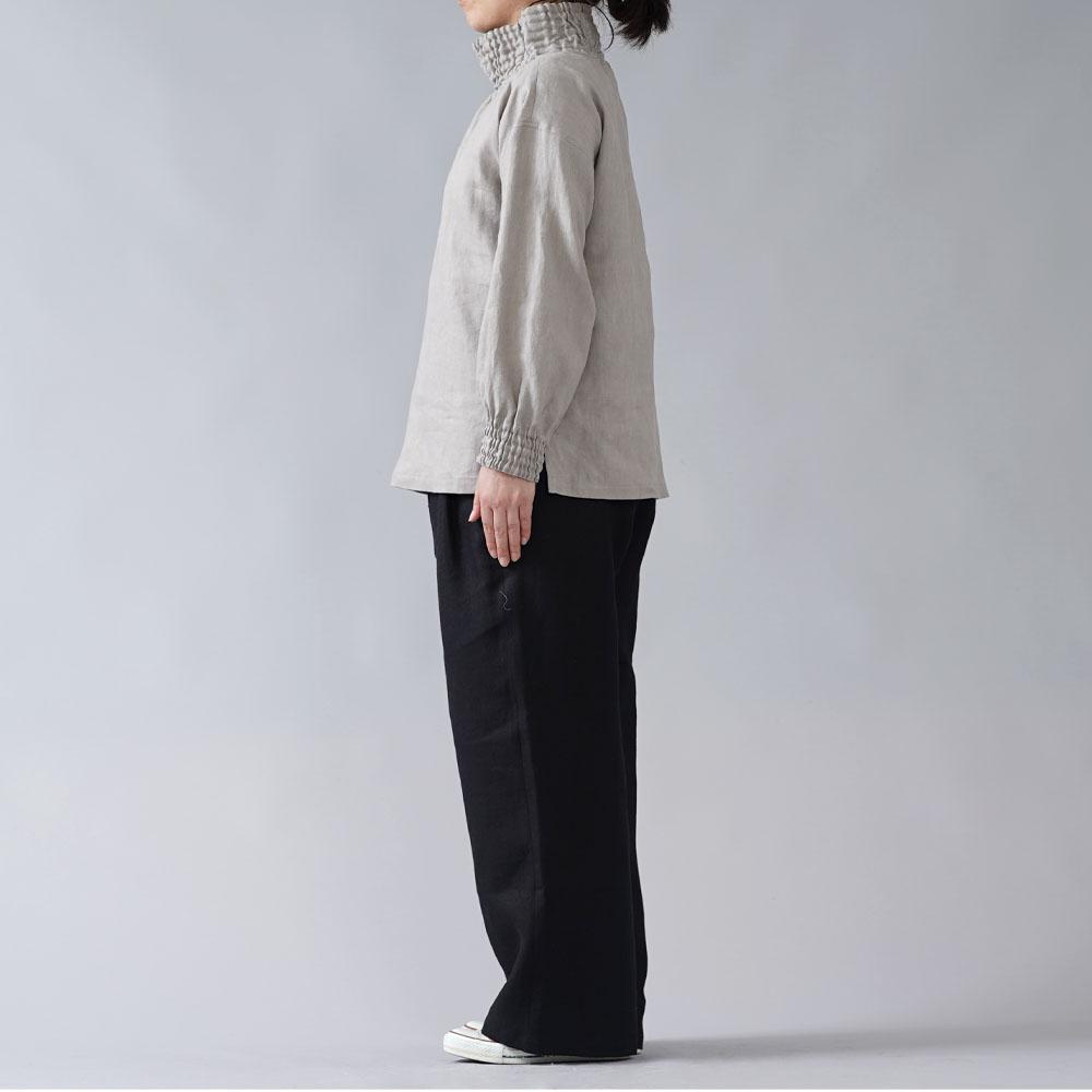 【wafu】中厚リネン タートルネック リブブラウス/アッシュパール t052a-asp2