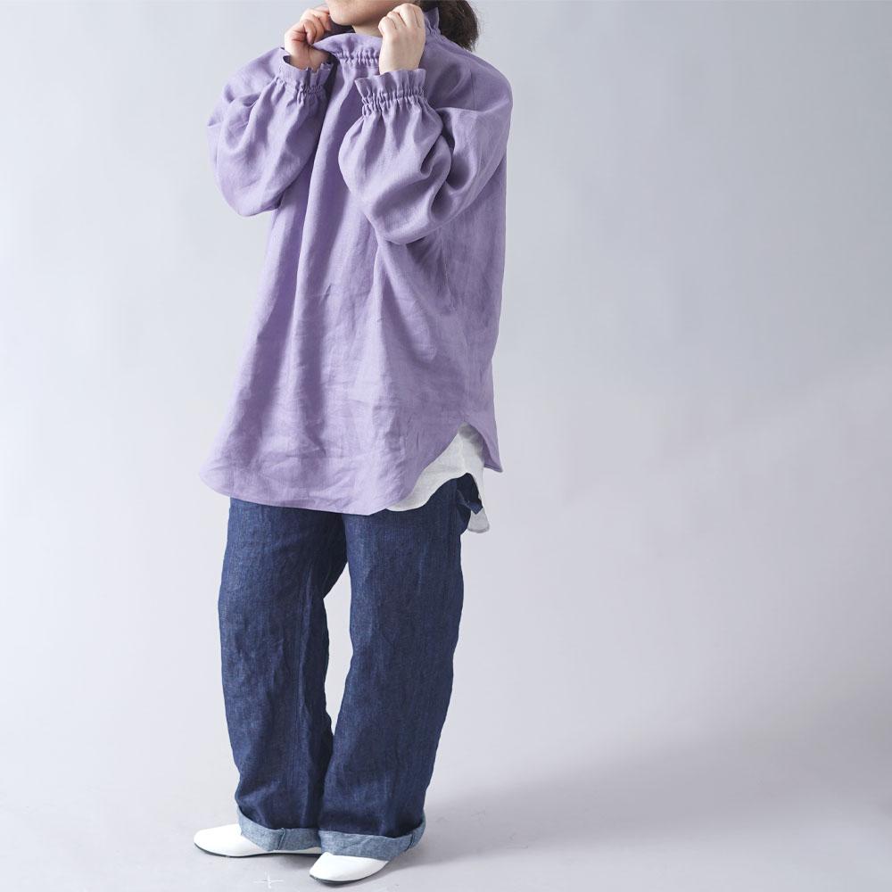 【wafu 入門編】中厚リネンハイネック シャーリング ブラウス /ヴィオラッセグリーゼ【free】t052b-vsg2
