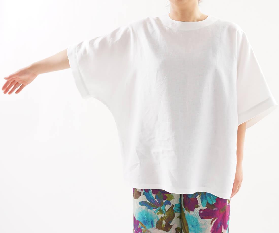 中厚 リネン ブラウス ビックサイズ Tシャツ 襟ぐり小さめ 背中ファスナー ドロップショルダー チュニック / ホワイト