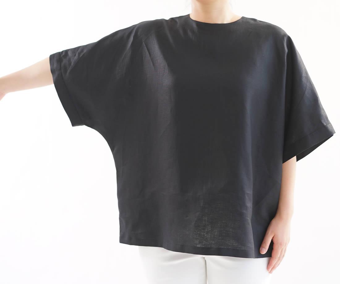 薄地 リネン ブラウス レイズド・ネックライン フレンチスリーブ トップス ビックサイズ Tシャツ 襟ぐり小さめ 背中ファスナー ドロップショルダー チュニック / ブラック