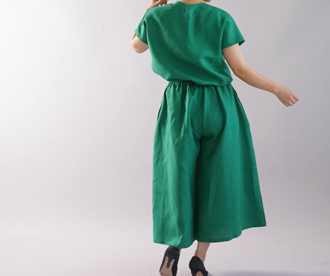 薄地 リネンブラウス タック Tシャツ チュニック 半袖 後ろボタン / フィヨルドグリーン