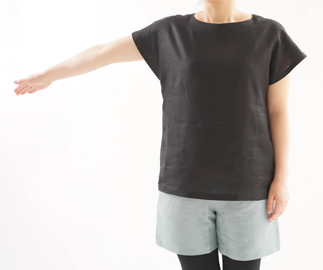 wafu 綿貫服装店 リネンブラウス トップス  フレンチスリーブ Tシャツ/ブラック トップス カットソー Tシャツ リネン 麻 リネントップス 麻トップス 半袖 半袖トップス 半袖Tシャツ はんそで 半そで 半端袖 丸首 クルーネック Uネック